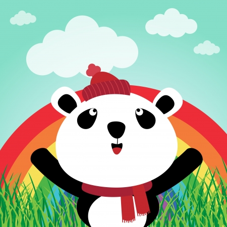 Panda with rainbow in the forest Stock Vector - 14187510
