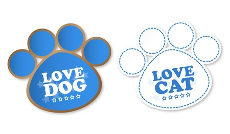 Paw print stickers with text love dog and love cat Vector