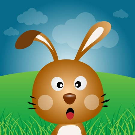 catoon: Brown rabbit in the forest