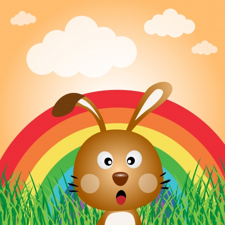 Rabbit with rainbow in the forest Stock Vector - 14187539