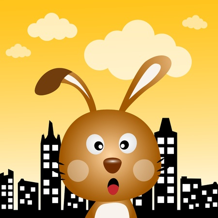 Rabbit in the city Illustration