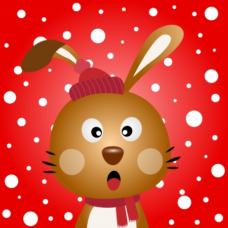 Brown rabbit with snowy background Illustration