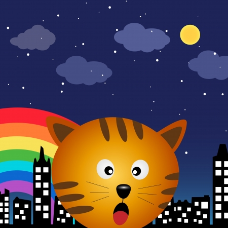 Cat in the city at night Vector
