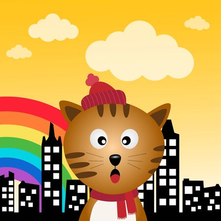 Cat and rainbow in the city Vector
