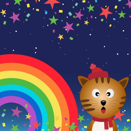 Cat in the night sky with rainbow Illustration