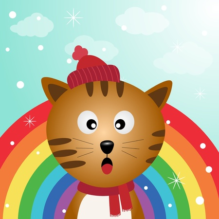 Cat in the sky with rainbow Vector