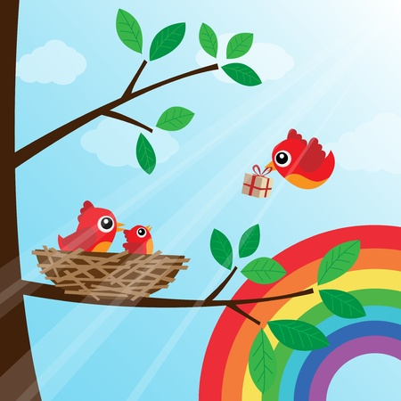 Christmas birds family with rainbow Stock Vector - 14981387