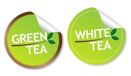Green tea and White tea stickers Stock Vector - 15090505