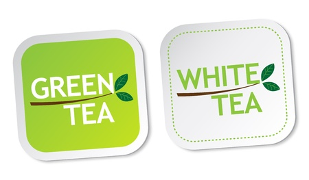Green tea and White tea stickers Vector