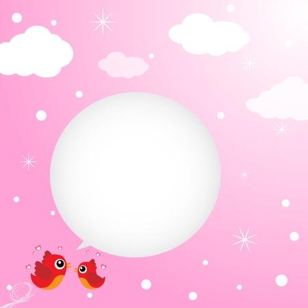 Birds in love flying around in the sky Illustration