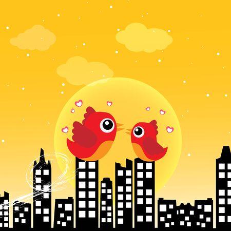Birds in love in the morning Illustration
