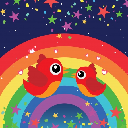 Birds in love with rainbow in the night sky