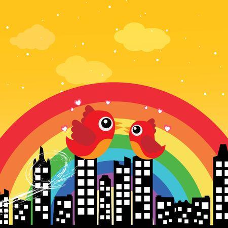 Birds in love with rainbow Stock Vector - 15143410