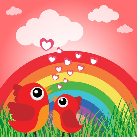 Love bird with hearts and rainbow