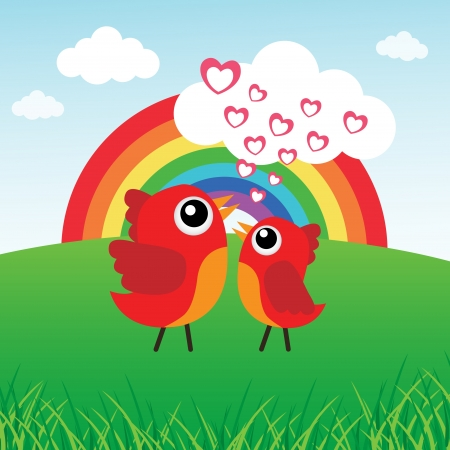 Love bird with hearts and rainbow Stock Vector - 15143344