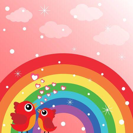 Love bird and rainbow with hearts