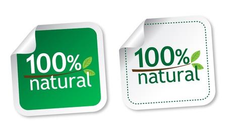 productos naturales: 100 pegatinas naturales Vectores