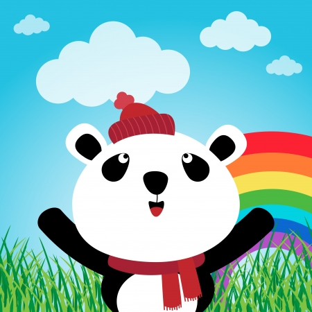 Panda with rainbow in the forest Stock Vector - 15311078
