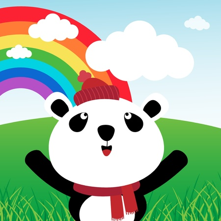 Panda with rainbow in the forest