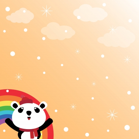 Panda and rainbow in the sky Stock Vector - 15311073