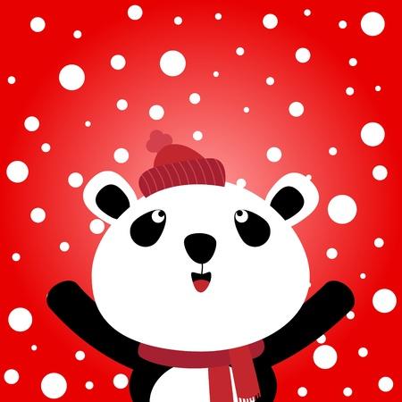 Panda and snowy background Illustration
