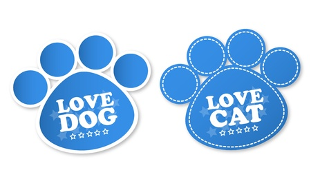 Paw print stickers with text love dog and love cat