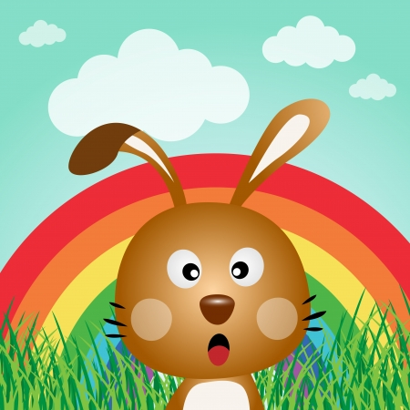 Rabbit with rainbow in the forest Stock Vector - 15332712
