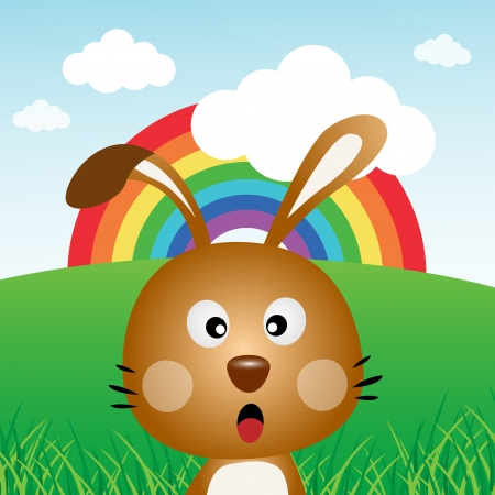Rabbit with rainbow in the forest Vector