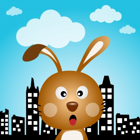 catoon: Rabbit in the city Illustration