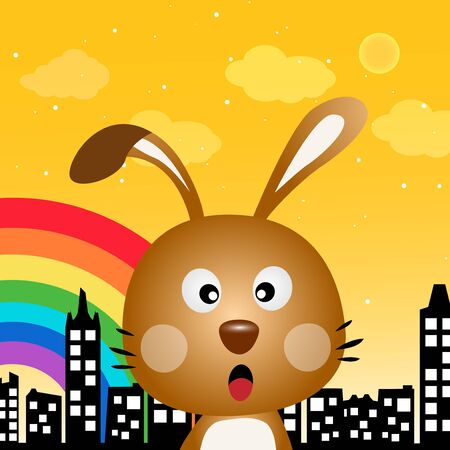 Rabbit and rainbow in the city Vector