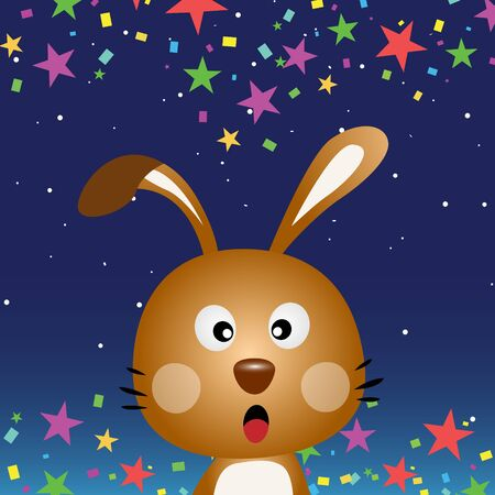 Cute rabbit in the night sky Stock Vector - 15391130