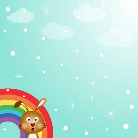 Rabbit in the sky with rainbow Stock Vector - 15391129