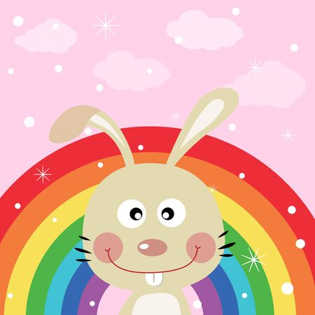 Rabbit in the sky with rainbow Stock Vector - 15391124