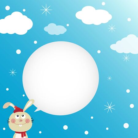 Rabbit speaking with a speech bubble Illustration