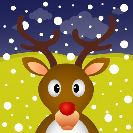 Reindeer and snow in the forest Vector
