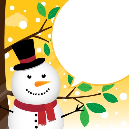 Snowman speaking with a speech bubble Stock Vector - 15391135