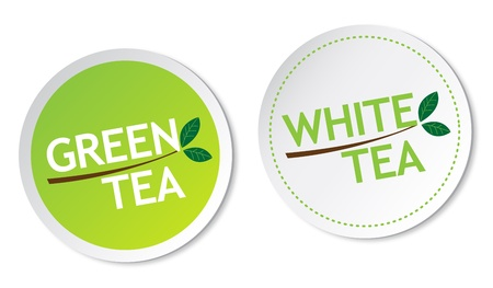 Green tea and White tea stickers
