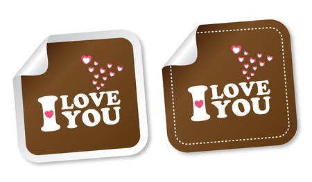 I love you stickers Stock Vector - 16435430