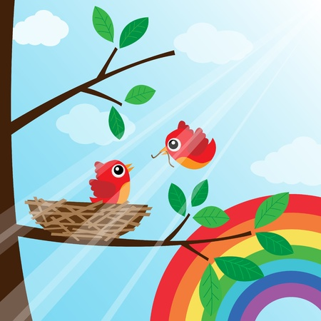 animal nest: Loving bird feeding with rainbow Illustration