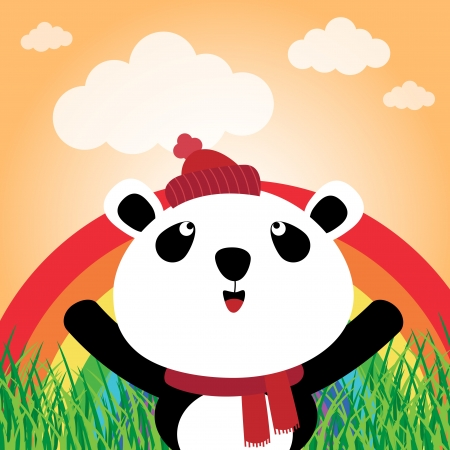 Panda with rainbow in the forest Stock Vector - 16602226