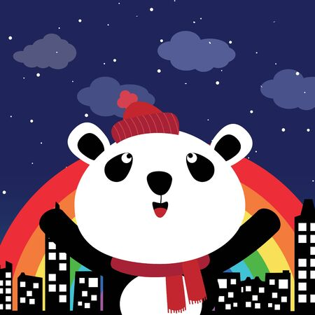 Panda in the city at night Vector