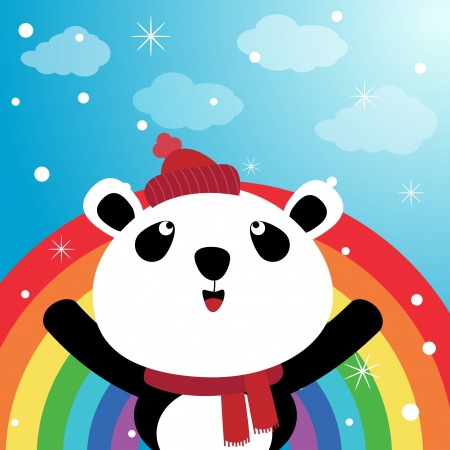 ideogram: Panda and rainbow in the sky