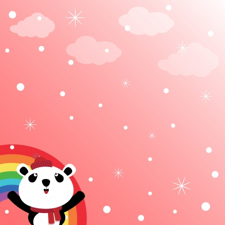 catoon: Panda and rainbow in the sky