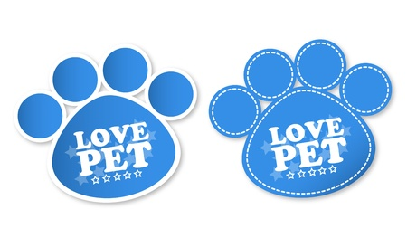 Paw print stickers with text love pet and stars Stock Vector - 16714956