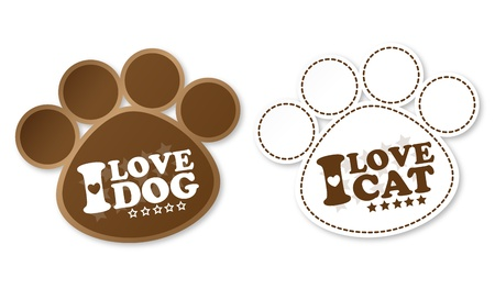 Paw print stickers with text I love dog and I love cat Illustration