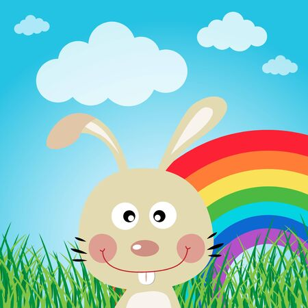 Rabbit in the forest with rainbow Stock Vector - 16714953