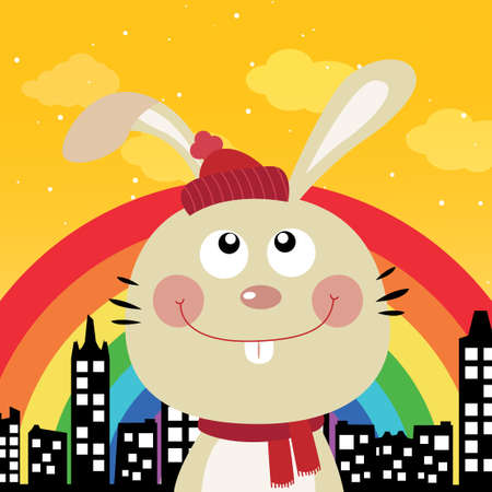 Rabbit and rainbow in the city Stock Vector - 16714954