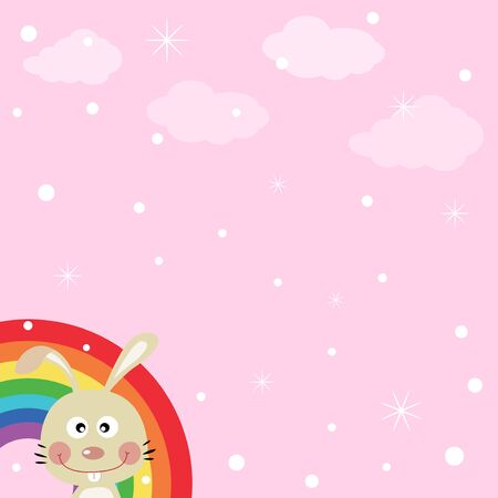 Rabbit in the sky with rainbow Stock Vector - 16714948