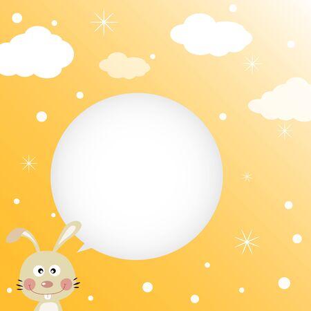 estrella caricatura: Conejo hablando con un bocadillo