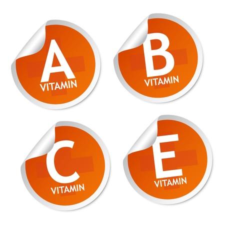 Vitamin A, B, C and E stickers Stock Vector - 16713987